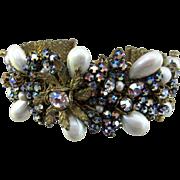 DeMario N.Y. Cuff Style Rhinestone and Faux Pearl Bracelet