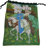 Microbeaded Figural Beaded Purse or Reticule - Horses and Ladies