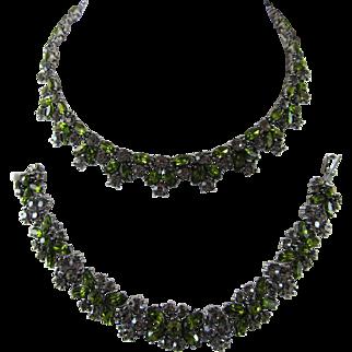Vintage Trifari Rhinestone Necklace and Earrings
