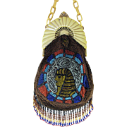 Beautiful Vintage Egyptian Revival Figural Beaded Purse