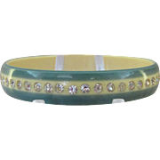 Vintage Celluloid Rhinestone Bangle Bracelet