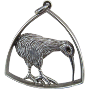 Sterling Silver Figural Kiwi Bird Pendant - Marked