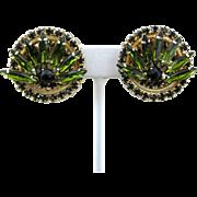 Vintage Alice Caviness Rhinestone Clip On Earrings