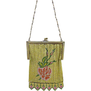 Whiting and Davis Signed Rose Mesh Purse