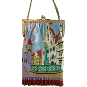 Vintage Glass Beaded Purse - Scenic with Fountain