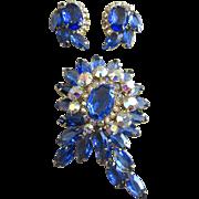 Juliana Sapphire Blue Rhinestone Pin and Earrings