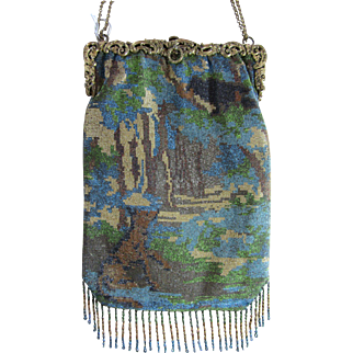 Gorgeous Figural Steel Beaded Purse - Scenic with Wolf