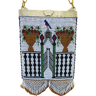 Arts and Crafts Style Figural Beaded Purse