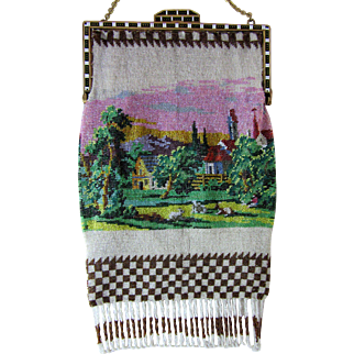 Vintage Scenic Beaded Purse with Enameled Frame
