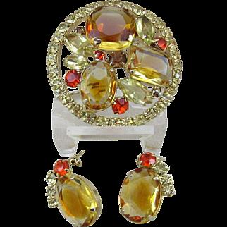 Verified Juliana Pin and Earrings - Rhinestone