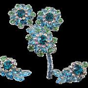 Juliana Triple Rhinestone Flower  Pin and Clip On Earrings - Book Piece