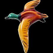 Vintage Figural Flying Duck Resin Washed Bakelite Pin