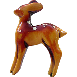 Vintage Resin Washed Figural Fawn Pin