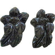 Beautiful Carved Creamed Spinach Bakelite Clips - Book Pieces