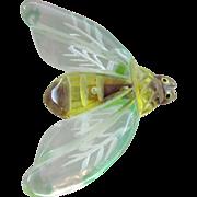 Cute Vintage Figural Lucite Bumblebee Enameled Pin