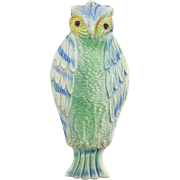 Vintage Figural Owl Celluloid Hair Comb and Case