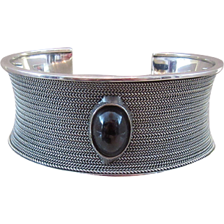 Sterling Silver and Tourmaline Mesh Style Cuff Bracelet