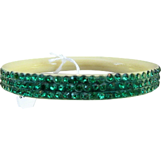 Vintage Celluloid and Green Rhinestone Bangle