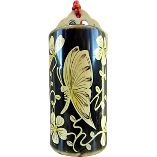 Celluloid Bolster Vanity Purse with Figural Butterfly