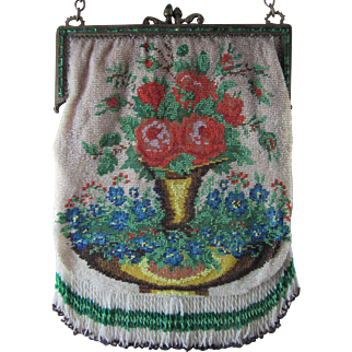 Vintage Microbeaded Floral Purse - Jeweled Frame