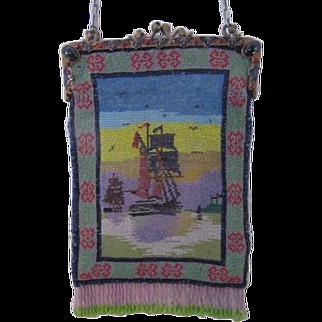 Vintage Microbeaded Scenic Figural Purse - Sailing Ship - Jeweled Frame