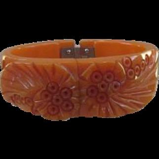 Bakelite Carved Hinged Clamper Bracelet