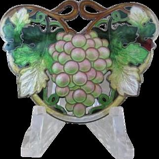 Vintage Grape Cluster Guilloche Enamel Sterling Pin