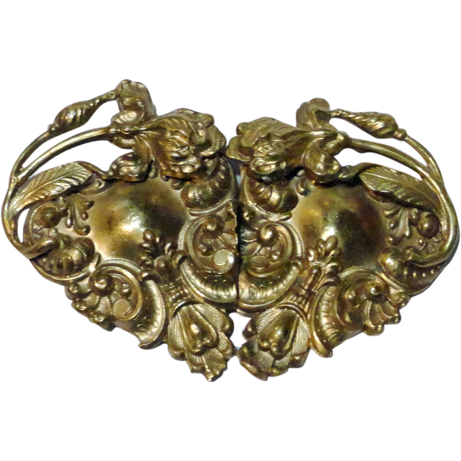 Antique Gold Wash over Brass Belt Buckle Two Pieces