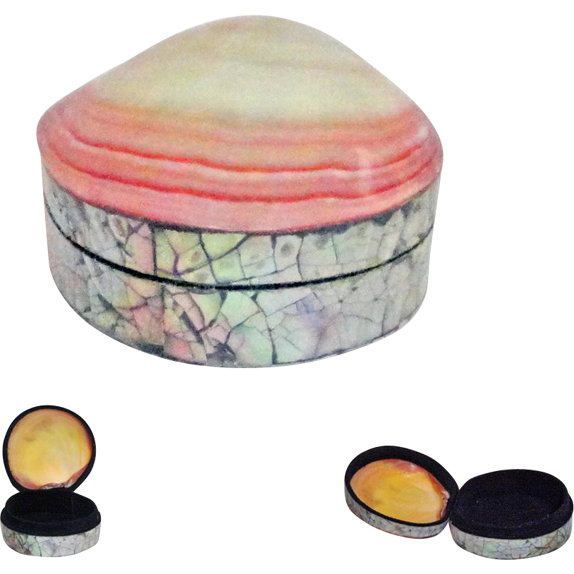 Vintage Abalone Mother of Pearl Hinged Shell Trinket Box