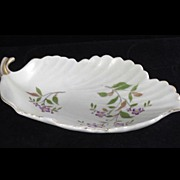 Vintage Floral Leaf Shaped Bowl Scalloped Edge Gold Trim hand Painted