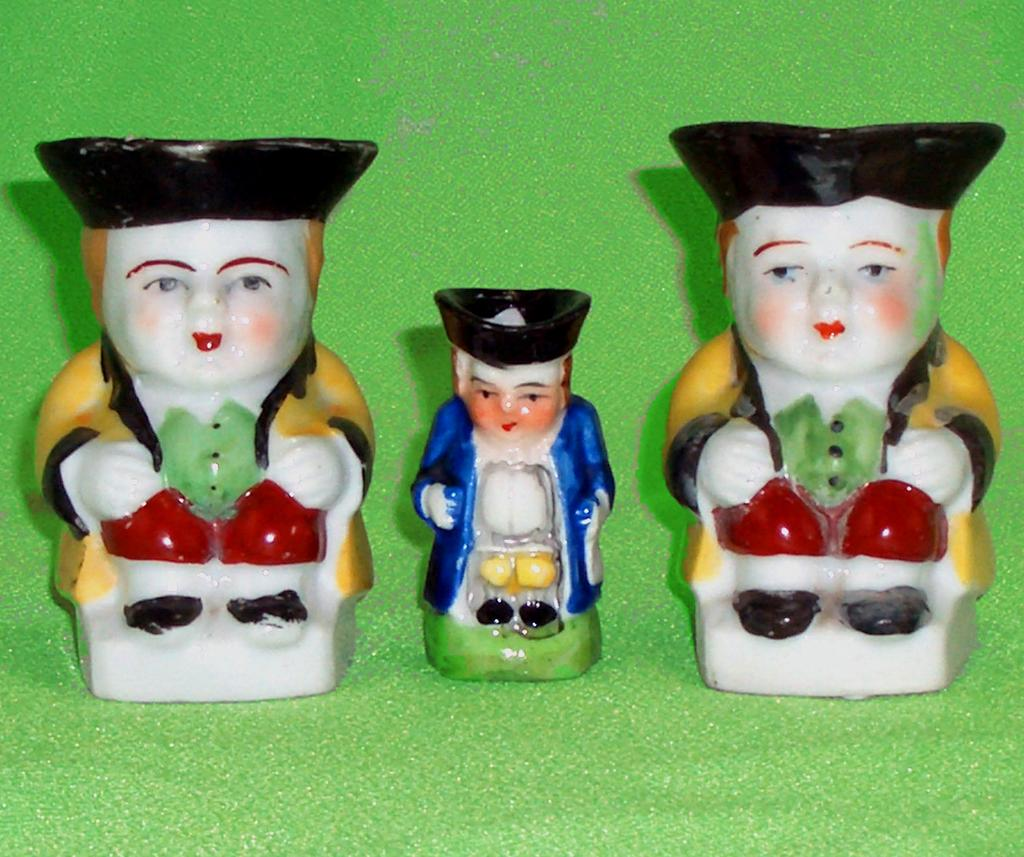 Miniature Occupied Japan Colonial Figural Toby Mug Stein Pitcher Set