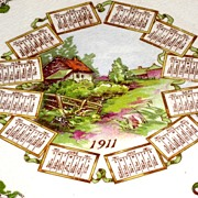 Arizona Country Scene Calendar Plate 1911 Dresden China