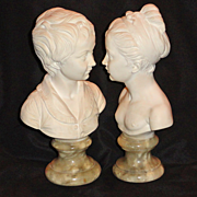 Bessi Figurine Set of Busts of Young Woman and Man
