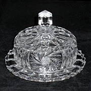 Very Heavy Elegant Pressed & Cut Lead Crystal Butter Dish with Cover 1920's  SOLD- 1930's SOLD