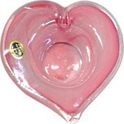 Murano Pink Glass Heart Bowl