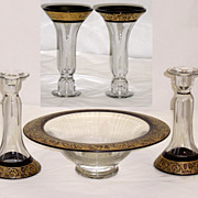 Antique Paden City Crystal Console Set Etched / Black gold overlay embossed trim