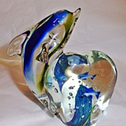 Hand Blown Glass Dolphin with Heart Base Figurine Paperweight. SOLD