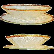 IVV Glacier Platter and Bowl 10K Gold Trim