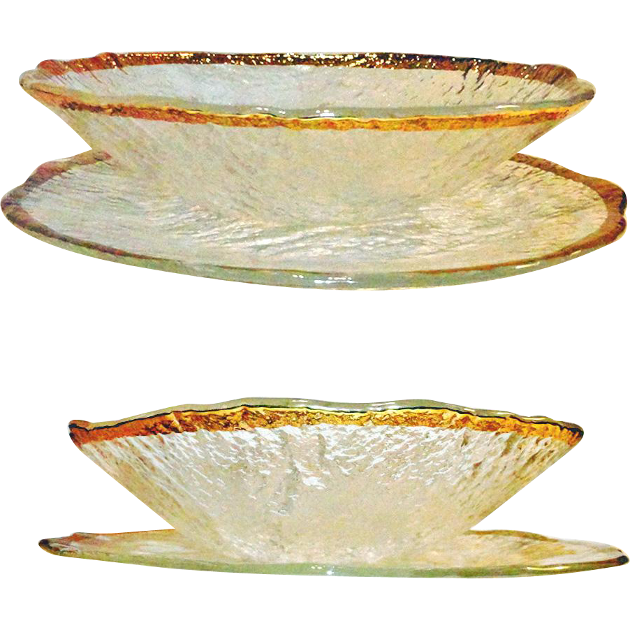 IVV Glacier Platter and Bowl 10K Gold Trim
