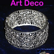 Art Deco Sterling Silver Floral Filigree Bracelet Germany