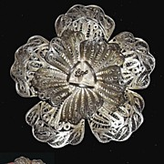 Antique Victorian Sterling Silver Cannetille Silver Rose Brooch Huge Hand Made