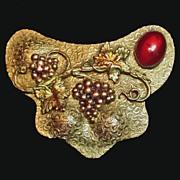 Art Nouveau Repousse Gold Filled Red Glass Grape Motif Brooch Sash Pin c. 1900-1920