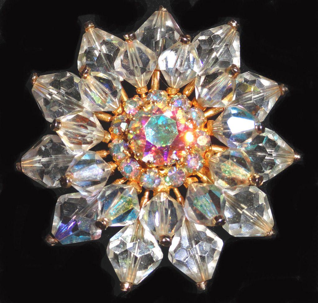 Austria Crystal Aurora Borealis Rhinestone Brooch Signed Austria