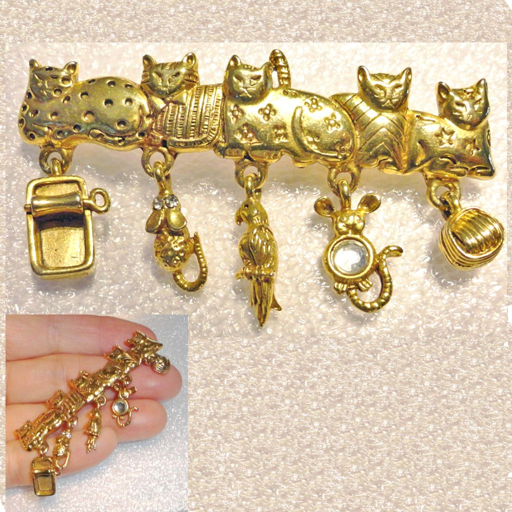 Five Gold Tone Patchwork Cats with Suspended Dangle Charms Brooch Signed AJC