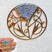 Aurora Borealis Blue Rhinestone Crystal Floral Open Work Brooch