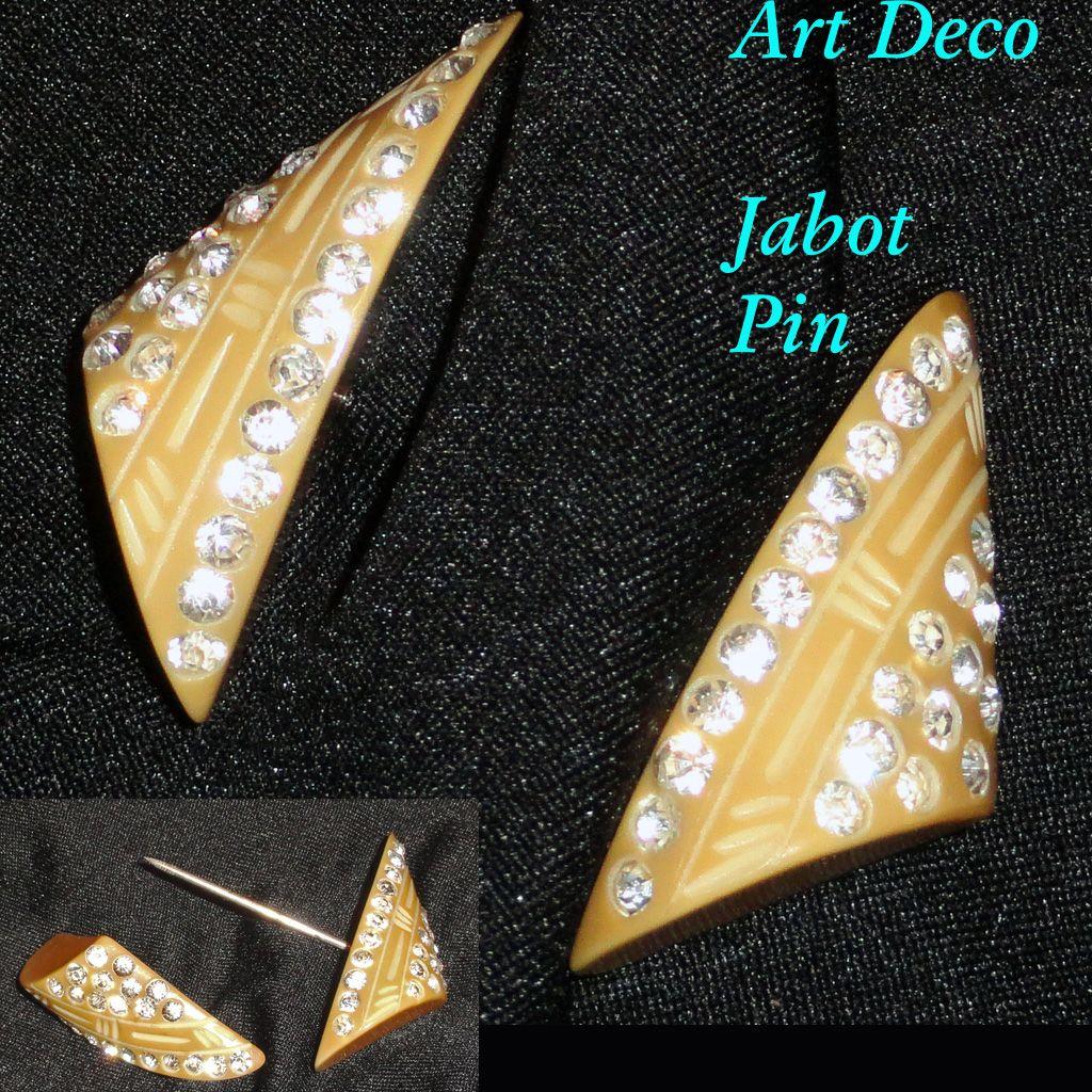 Art Deco Rhinestone Carved Celluloid Butterscotch Jabot  Pin Hat Ornament