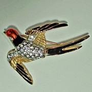 Bird in Flight Rhinestone Enamel Brooch.