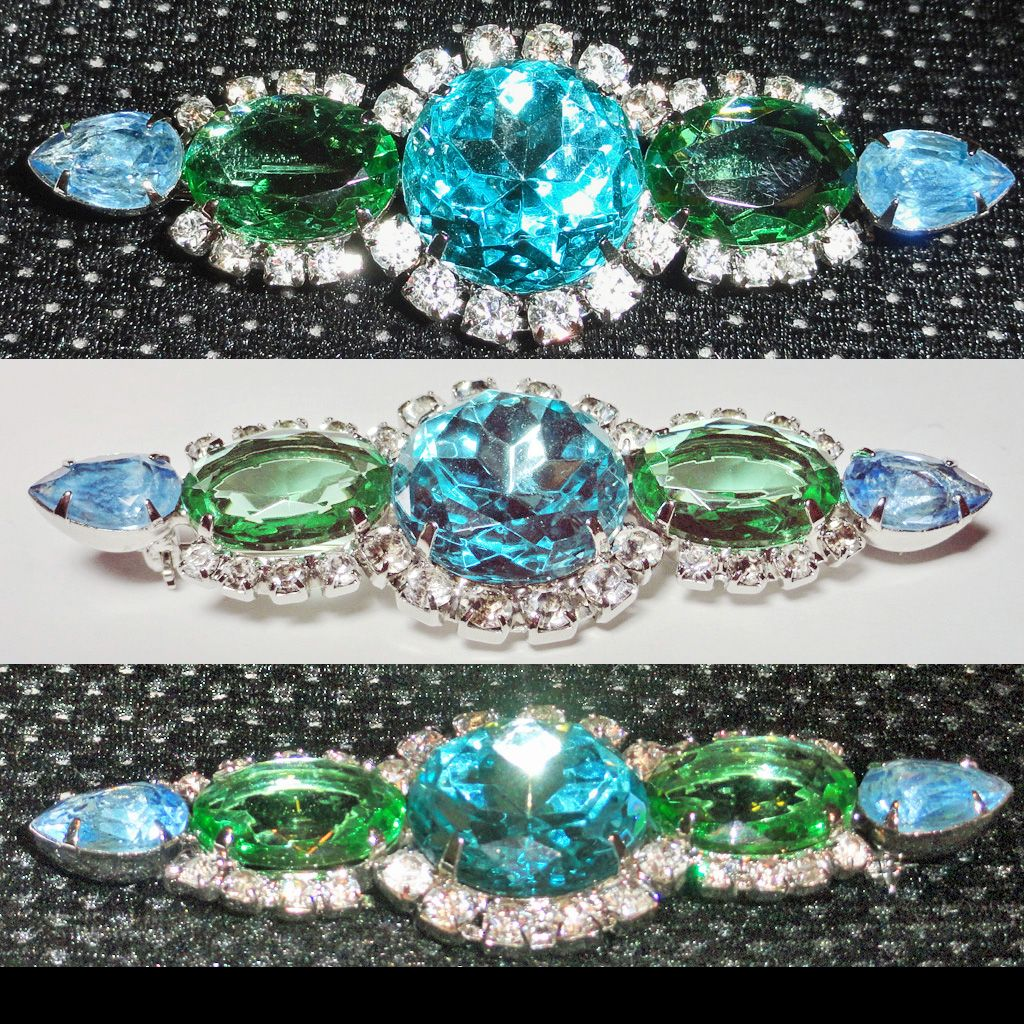 Blue Green Rhinestone Sparkling Bar Brooch