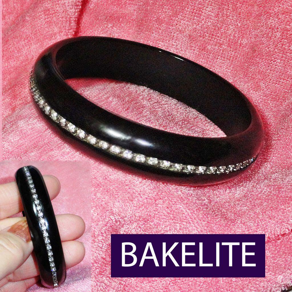 Art Deco Black Bakelite Rhinestone Bracelet