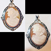 Antique 10 Karat White Gold Hand Carved Shell Cameo Pendant   C 1890-1910